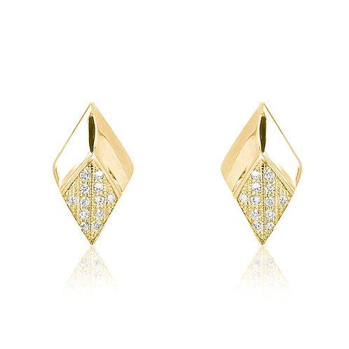 Bevel Rhombus Earrings - Gold