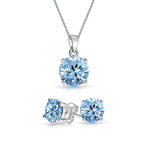 Silver Round Solitaire Necklace Set - Blue Topaz