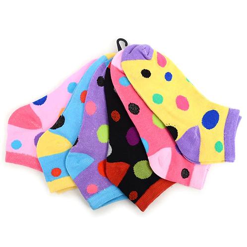Women's Polka Dot Low Cut Socks - 6 Pack