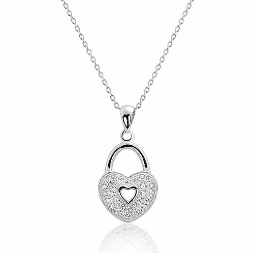 Romantic Heart Lock Silver Necklace