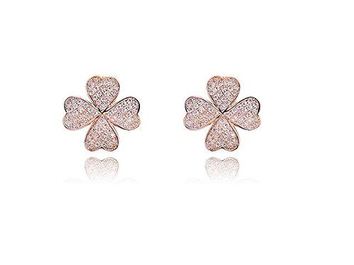 Four Leaf Clover Earrings - Rose Gold