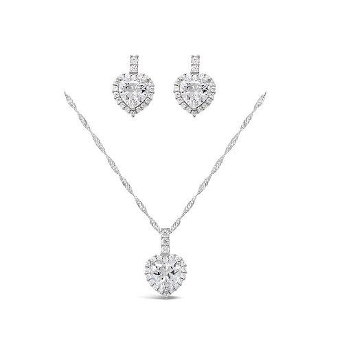 Luxury Heart Necklace Set - Clear CZ