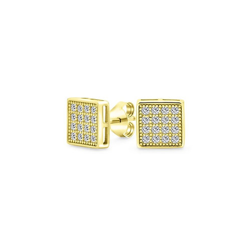 Sparkling Square Earrings - Gold