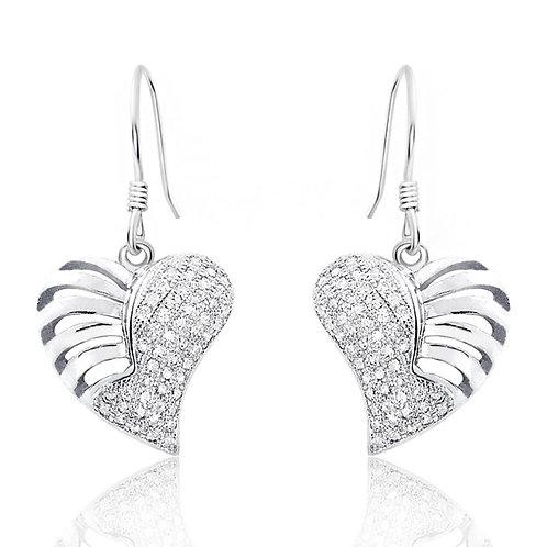 Skeletal Heart Earrings - Silver