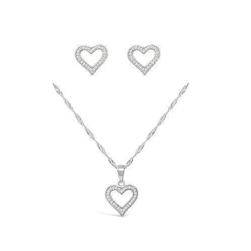 Hollow Heart Necklace Set