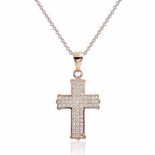 CZ Cross Micro Pave Necklace - Rose Gold