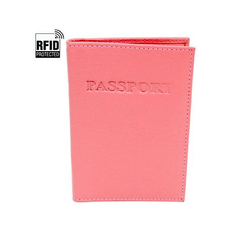 RFID Genuine Leather Passport Wallet - Pink