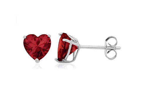 Silver Heart Birthstone Earrings - January (Garnet)