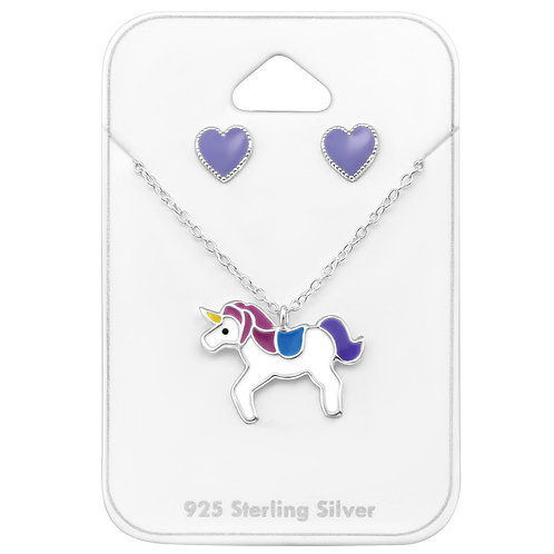 Purple Heart Unicorn Necklace Set