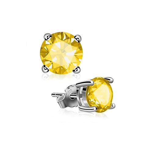 Silver Round Birthstone Earrings - November (Citrine)
