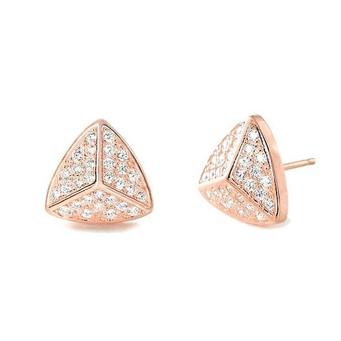 Triangle CZ Earrings - Rose Gold