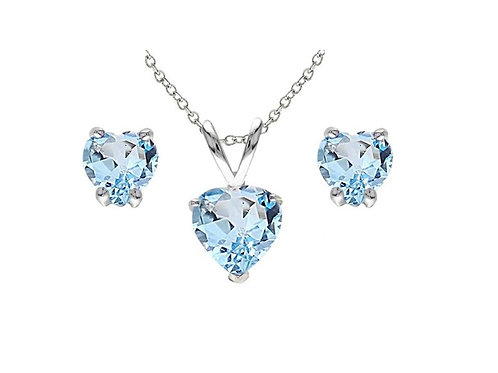 Silver Heart Necklace Set - Blue Topaz