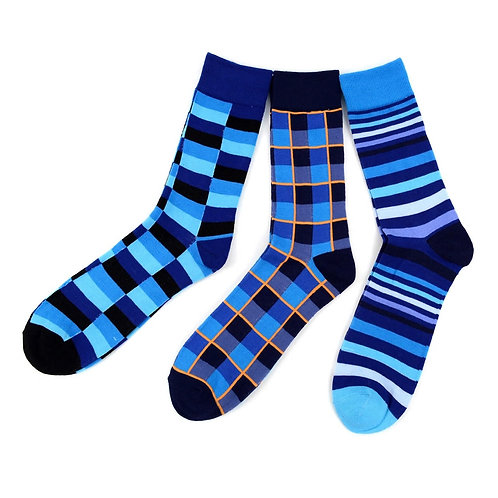 Men's Casual Fancy Crew Socks - 3 Pack