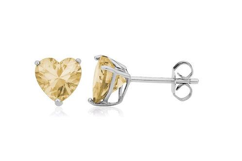 Silver Heart Birthstone Earrings - November (Citrine)