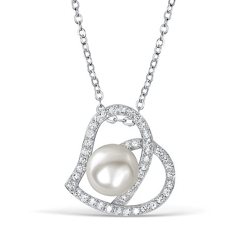 Pearl Heart Silver CZ Necklace