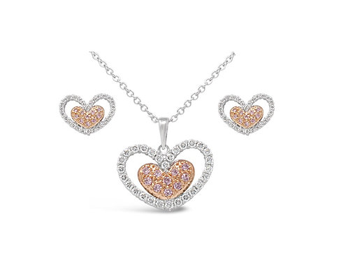 Stone Encrusted Heart Necklace Set