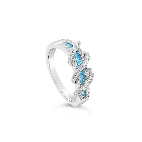 Exotic Twisted Spinel Ring - Blue Topaz