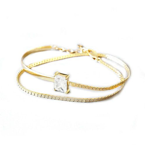 Silver CZ Double Strands Wrap Bracelet - Gold