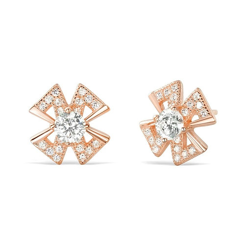 Cross Leaflet Earrings - Rose Gold