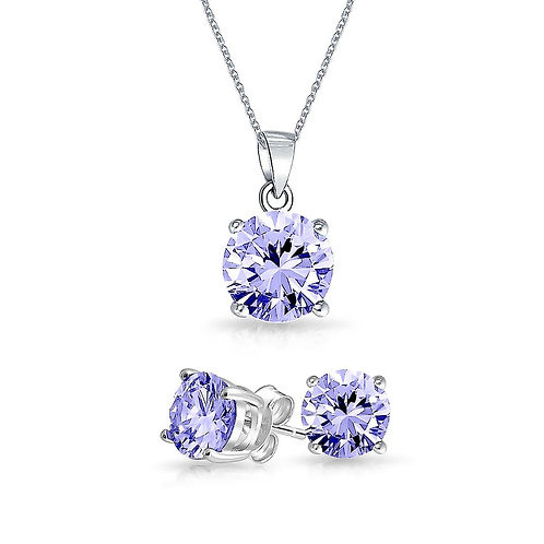 Silver Round Solitaire Necklace Set - Alexandrite