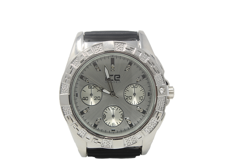 Clocksworth CZ Leather Watch - Silver