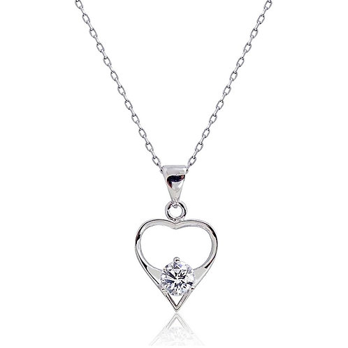 Stone Rest Heart Silver Necklace