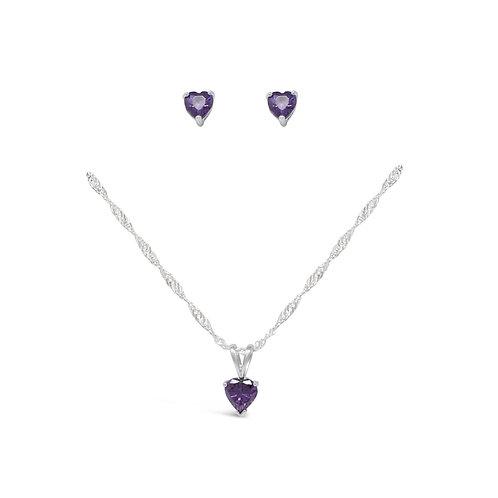 Silver Heart Necklace Set - Amethyst