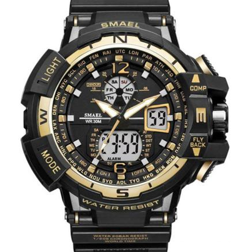 Smael 3ATM Sports Watch - Black, Gold