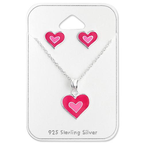 Double Heart Necklace Set