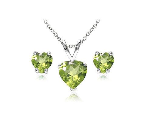 Silver Heart Necklace Set - Peridot
