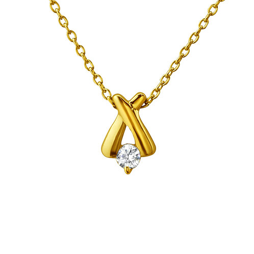 Gold Cross Stone Necklace