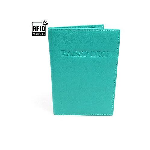 RFID Genuine Leather Passport Wallet - Teal