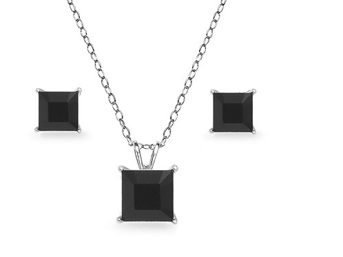 Silver Square Solitaire Necklace Set - Black Onyx