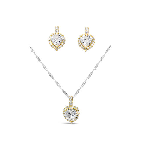 Luxury Heart Necklace Set - Gold