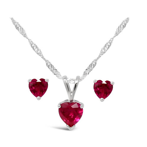 Silver Heart Necklace Set - Ruby
