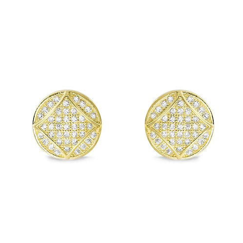 Fabulous Square in Circle Earrings - Gold