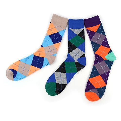 Men's Assorted Argyle Casual Fancy Crew Socks - 3 Pack