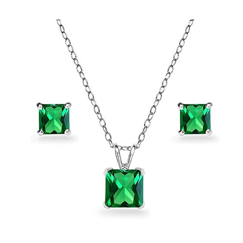 Silver Square Solitaire Necklace Set