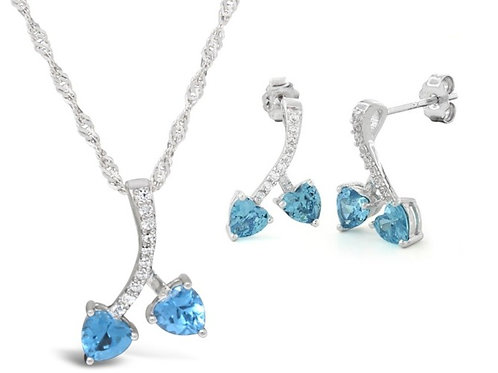 Silver Cherry Hearts Necklace Set - Blue Topaz