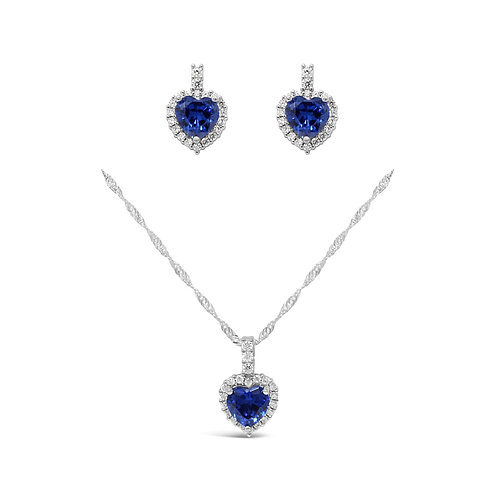Luxury Heart Necklace Set - Blue Sapphire