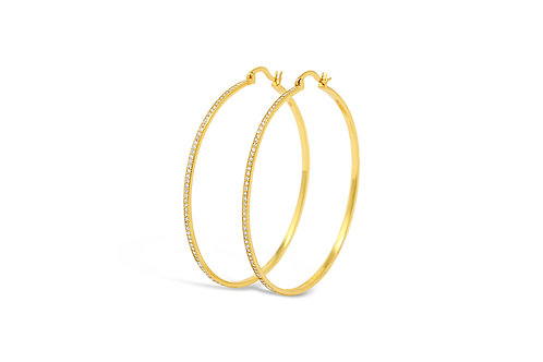 Silver CZ Hoops Gold - 2x60mm