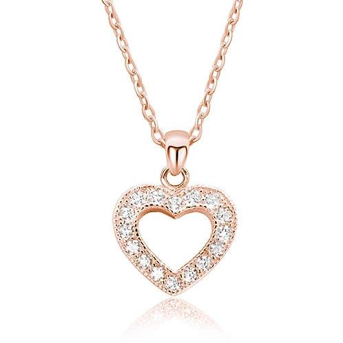 Glamorous CZ Heart Necklace - Rose Gold
