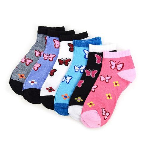 Women's Butterfly Low Cut Socks - 6 Pairs