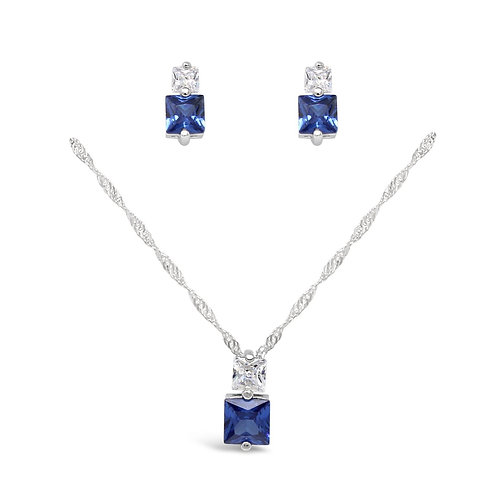 Square CZ Necklace Set - Blue Sapphire