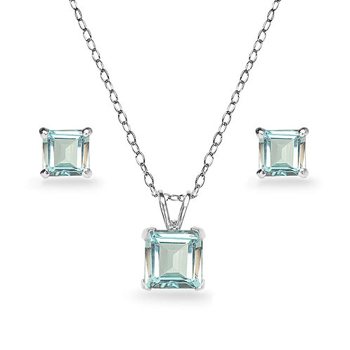 Silver Square Solitaire Necklace Set - Aquamarine