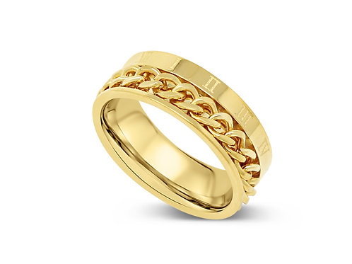 Roman Numeral Chain Ring - Gold