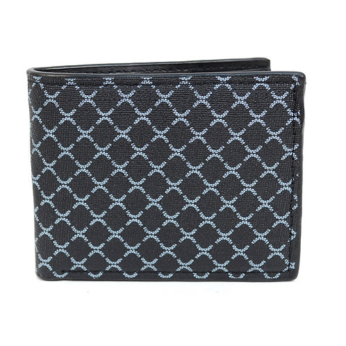 LB Patterned Leather Bi-Fold Wallet