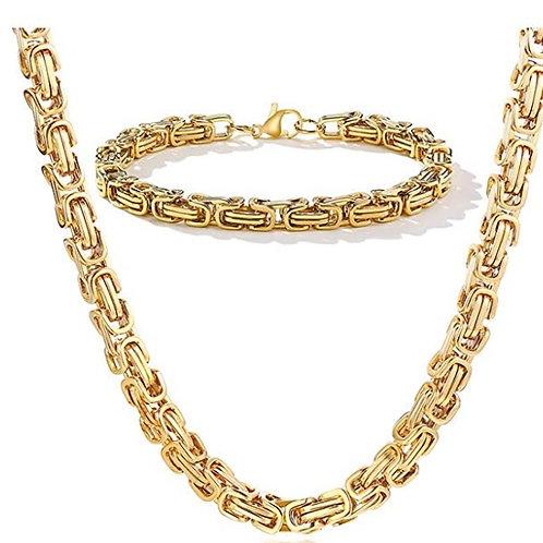Steel Byzantine Chain Set - Gold