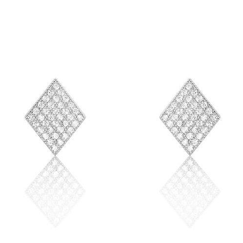 Rhombus CZ Silver Earrings