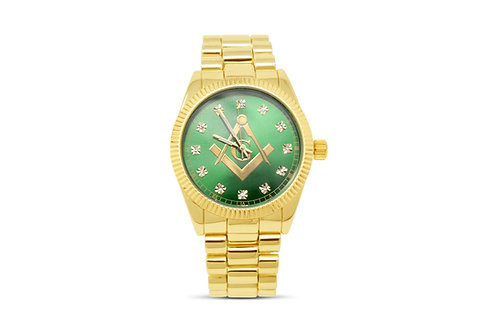 Masonic Watch - Gold/Green